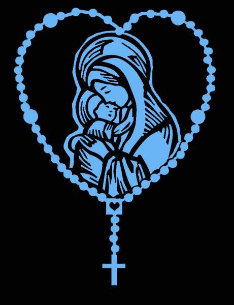1 COLOR ROSARY WITH MARY AND BABY JESUS VINYL STICKER OR DECAL