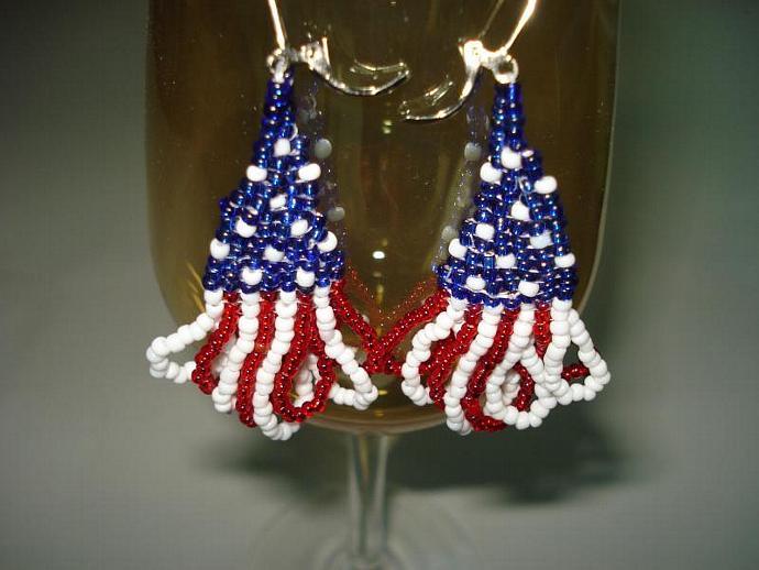Patriotic Fringed Bead Earrings