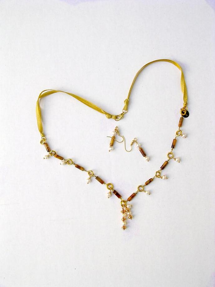 Tiger Eye &  Freshwater Pearl Charms- Yellow Ribbon Necklace