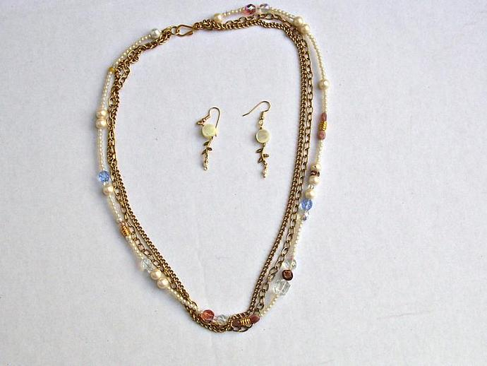 Triple Mixed Strand Necklace-Two Metal Strands and One Pearl Strand with