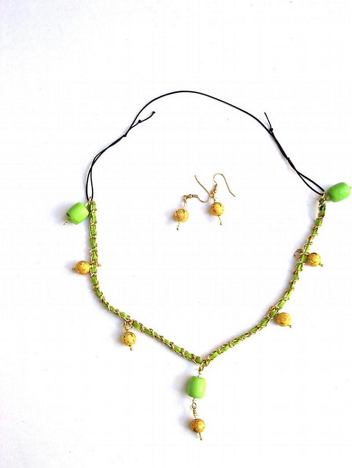 Chartruese & Gold Bead Drops- Woven Leather & Gold Link Chain-Black Nylon Chord