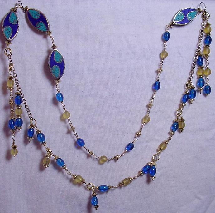Blue & Gold Wire Wrapped Beads, Mosaic Inlay Accents necklace in an Asymmetric
