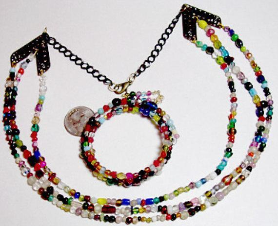 Multicolor Bead  Ensemble with Beads in Colors of the Rainbow and Brass Stations