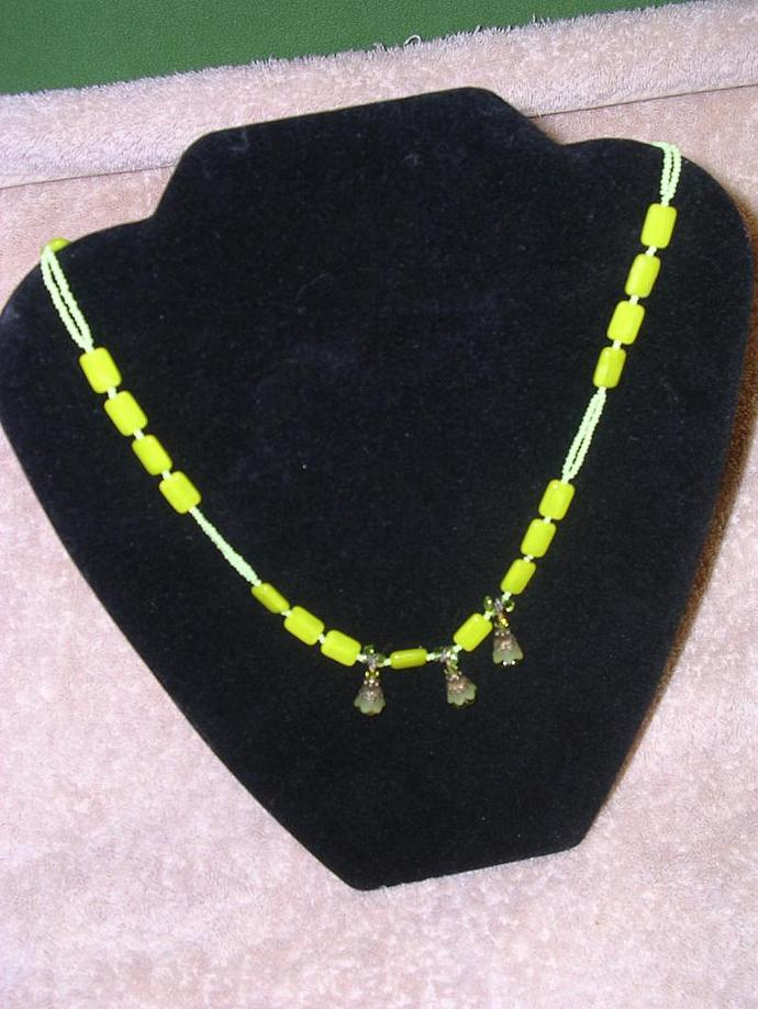 Chartreuse Bead Accents, Green Color Seed Beads and Beautiful Green Flower