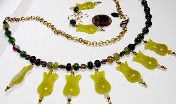 Mint Green Jade Flowers & Deep Green Jade Beads on a Neck Wire  and Gold Link
