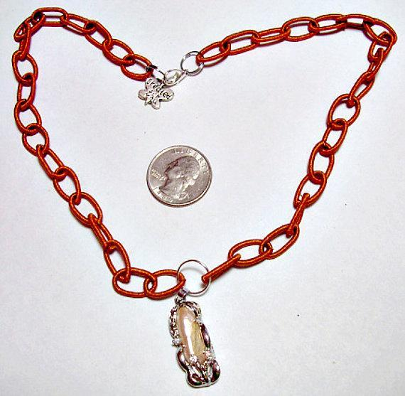"Keisha Pearl Pendant with charm  & Brown Silk Wrapped ""Beads""  - a great fashion"