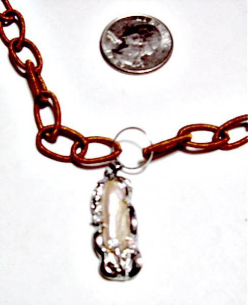 """Keisha Pearl Pendant with charm  & Brown Silk Wrapped """"Beads""""  - a great fashion"""