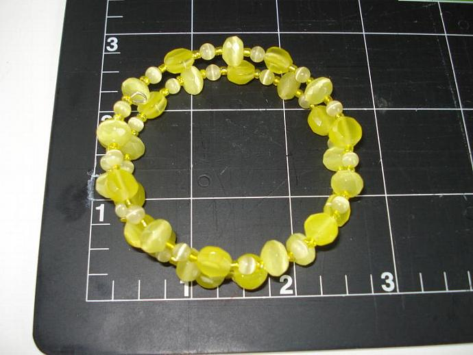 Yellow Fiber Optic Glass Bead Memory Wire Bracelet