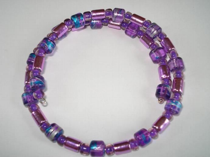 Purple - Beaded Memory Wire Bracelet
