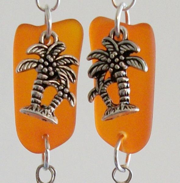 Cultured Seaglass Silver Charm Earrings in Orange and Blue