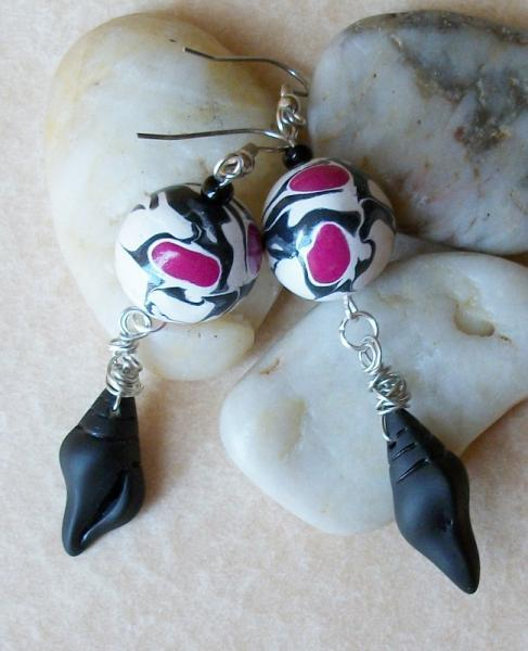 Cultured Seaglass and Polymer Clay Silver Dangle Earrings