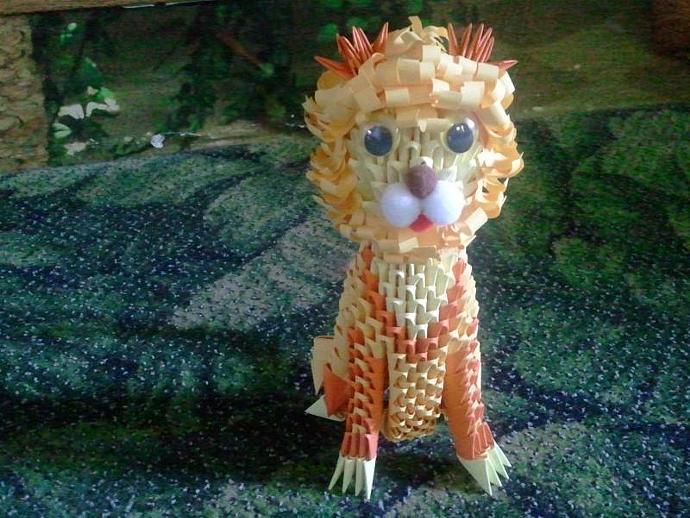 3d origami LION