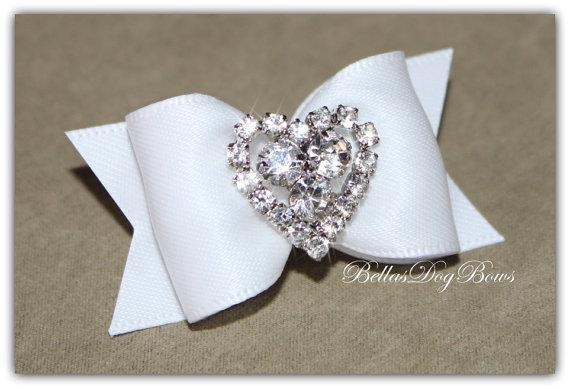 Wedding White Bridal Satin Bow with Heart Shaped Rhinestone Embellishment