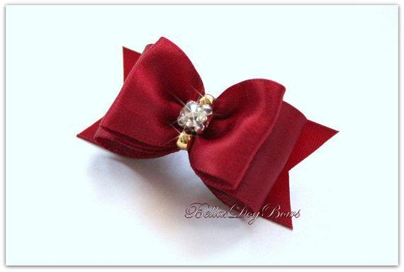 Sherry Satin Bow with Flags. Embellished with Large Icy Swarovski Crystal and 2