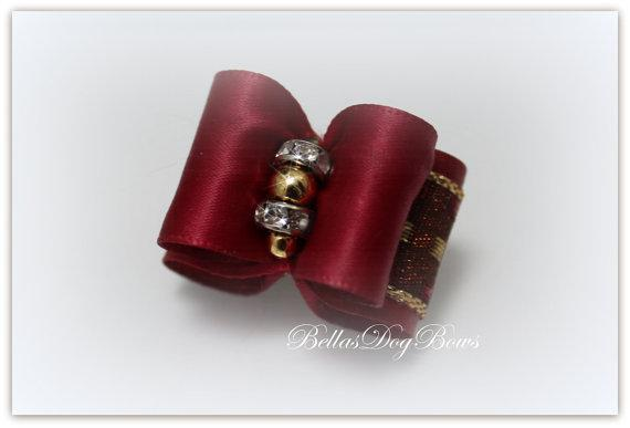 Burgundy Satin Bow with Metallic Gold and Burgundy Overlay. Embellished with