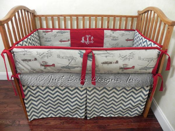 Custom baby bedding set dalton vintage by babybedding on zibbet - Airplane baby bedding sets ...