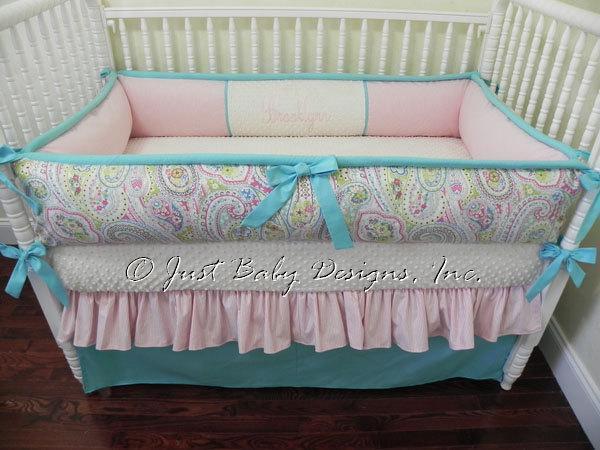 Custom Crib Bedding Set Brooklyn Paisley By Babybedding