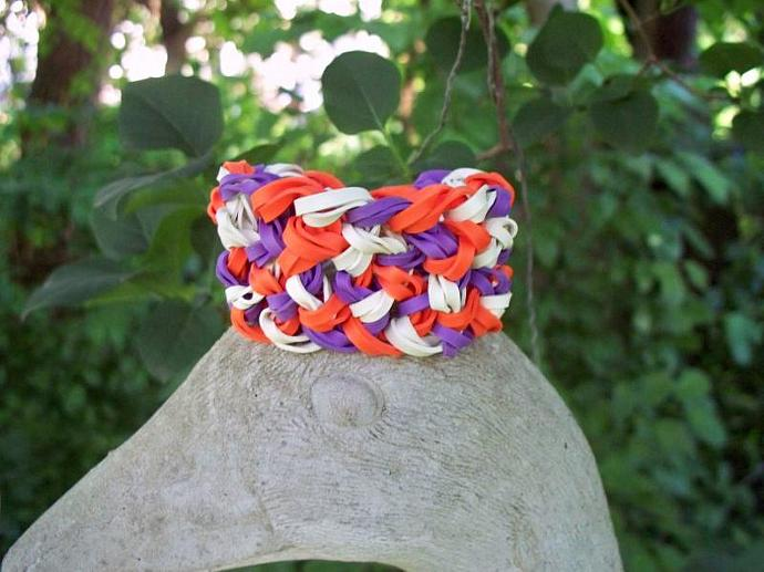 Speckled Orange, Purple, and White Bangle Bracelet Made w/ Rubber Bands -