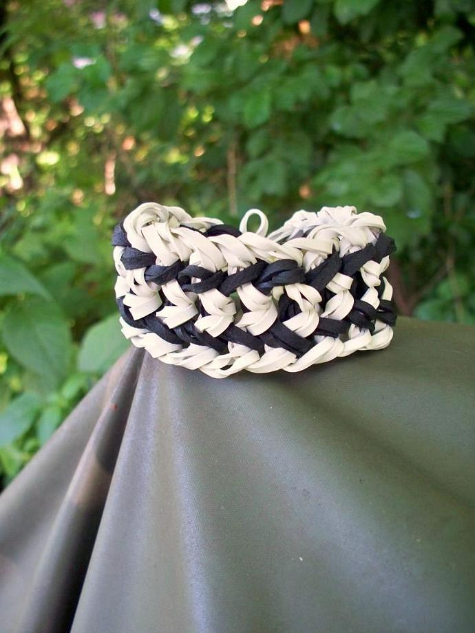 Wide Black and White Striped Bangle Bracelet Made w/ Rubber Bands - Unisex