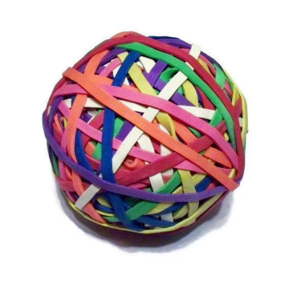 "Office Rubber Band Ball - Rainbow Colored - 2.5 inches, 2 1/2"" - Office"