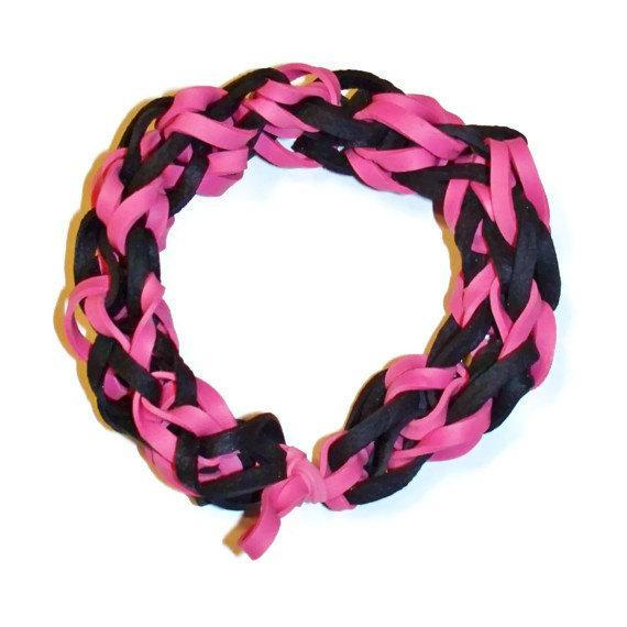 Friendship Pink and Black Stretch Bracelet - Made with Rubber Bands - Fun