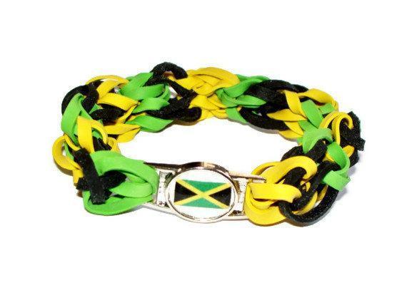 Jamaican Flag Stretch Bracelet - Made w/ Rubber Bands - Jamaica, Reggae, Bob