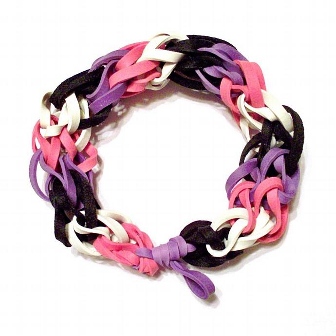 Girls Bracelet - Purple, Pink, Black, and White Rubber Band Bracelet - Perfect