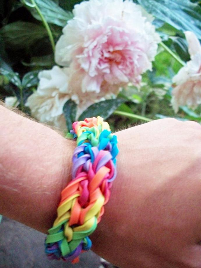 Large Rainbow Bangle Bracelet Made with Rubber Bands - Thick, One Size Fits All