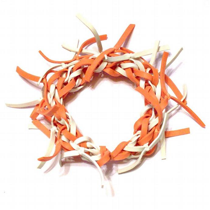 Orange and White Frayed Rubber Band Bracelet  - Available in ALL Colors - Makes