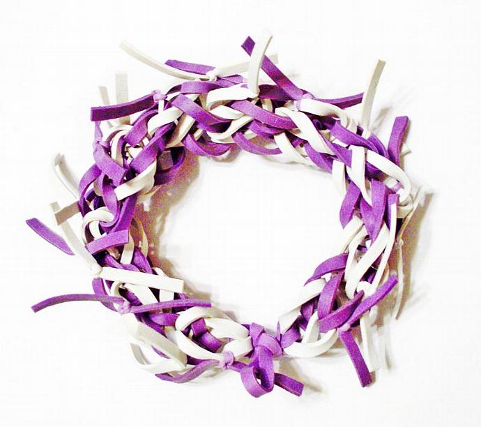 Frayed Rubber Band Bracelet, Purple and White - Available in ALL Colors - Makes