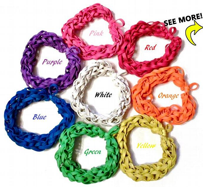 Lot of 20 Rubber Band Bracelets - Assorted Colors - Birthday Party Favors,
