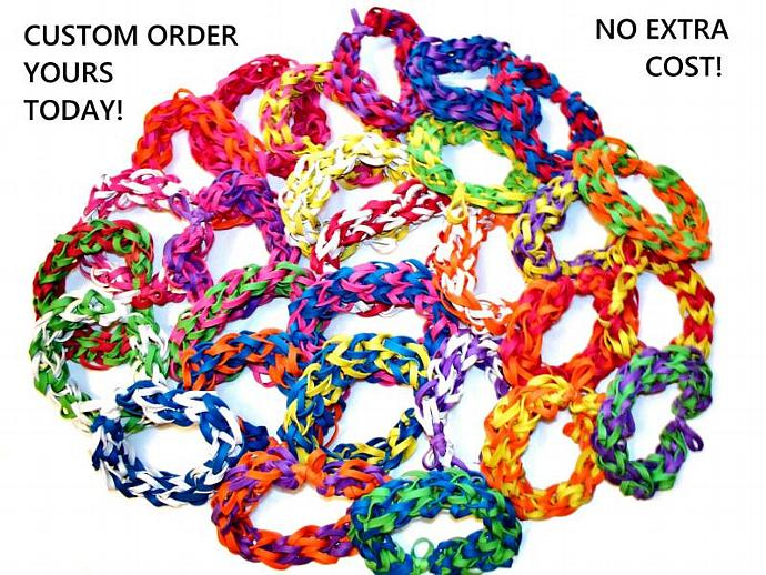 Lot of 10 Rubber Band Bracelets - Assorted Colors - Birthday Party Favors,