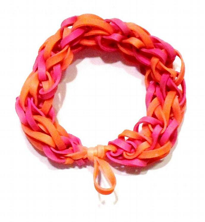 Orange and Pink Rubber Band Bracelet - Great Party Favor / Gifts for Kids and