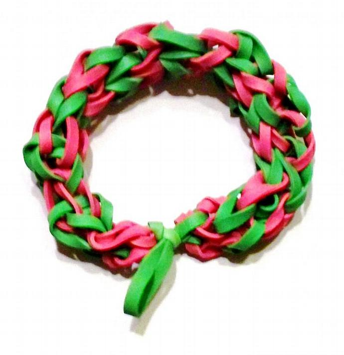 Girl's Green and Pink Rubber Band Bracelet - Perfect Gift for Girls