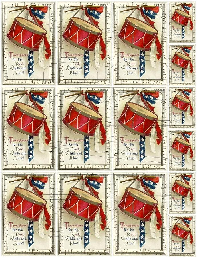 Shabby Chic digital collage sheet Patriotic Three Cheers for The Red White and