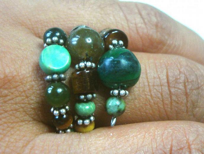 Malichite, Labrodorite, Turquoise, Tigereye Ring