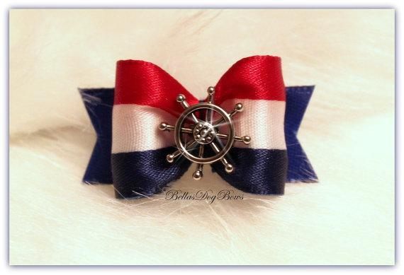 Nautical Ship's Wheel with Patriotic Colors of Red, White & Blue Coordinated