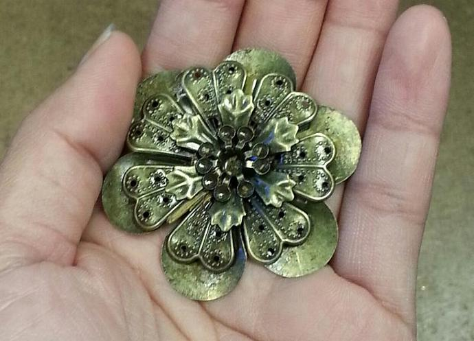 Bronze filigree embellishments-3pcs