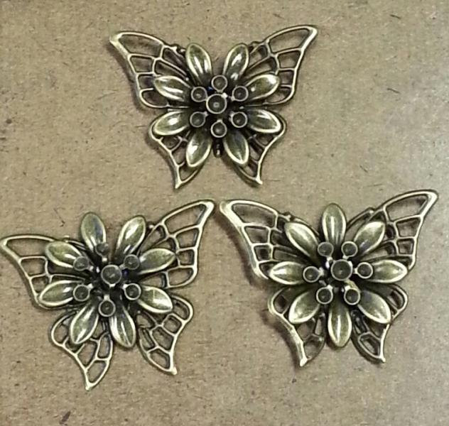 Bronze filigree butterflies-3pcs