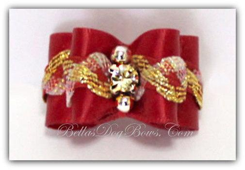 Red Double Loop Show Bow with Embellishments