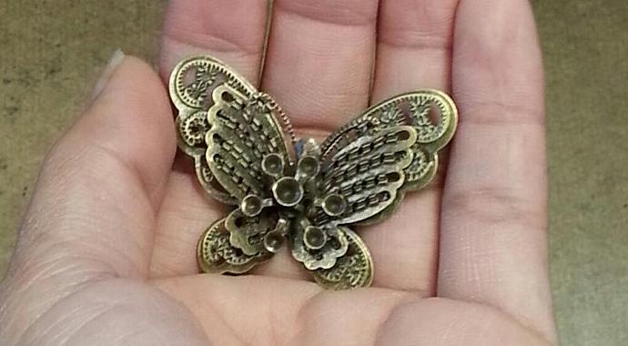 Bronze filigree butterflies-3pcs