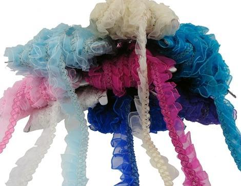 Turquoise double shimmer ruffle