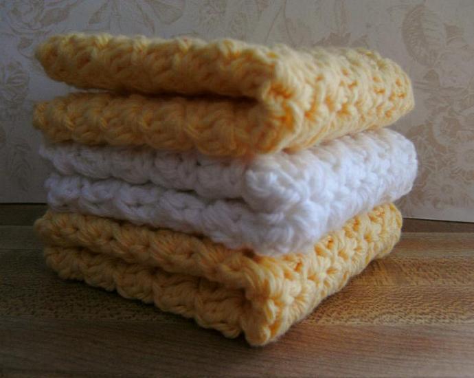 LEMON CHIFFON PIE---Set of 3 Handmade Cotton Croch