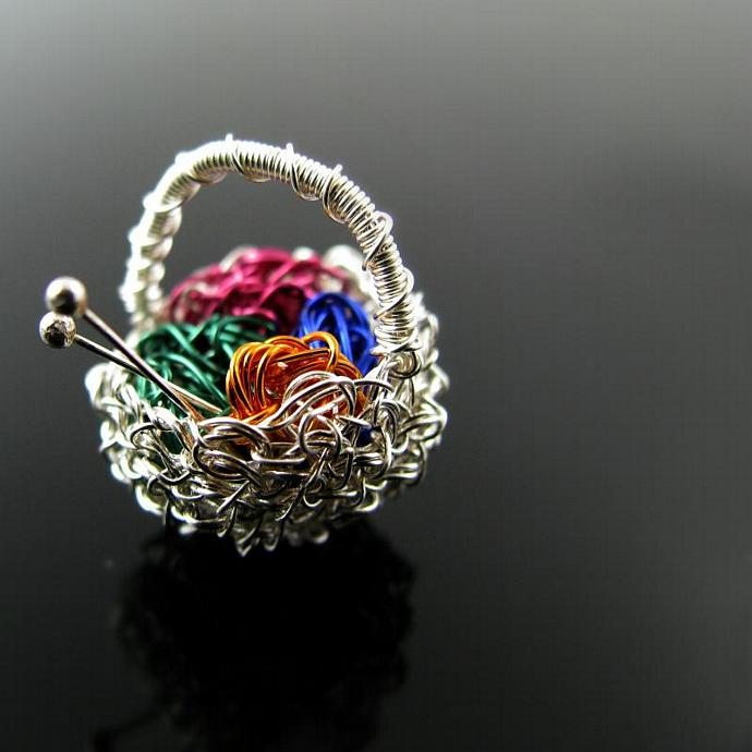 Tiny silver wire basket pendant with yarn balls