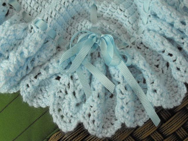 LIGHT PASTEL BABY BLUE HEIRLOOM BABY BLANKET AFGHA