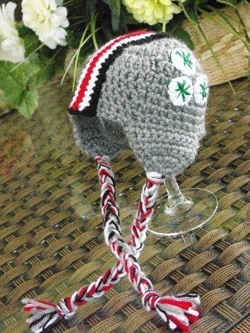 POPULAR SCARLET AND GREY HELMET BABY HAT FOR FANS