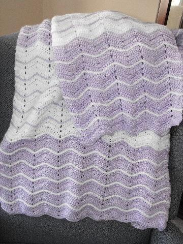 LAVENDER AND WHITE RIPPLE CROCHET CRIB SIZE BABY A