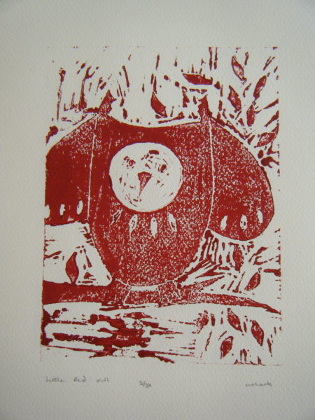 Little Red Owl - Lino Print