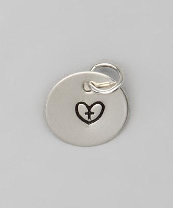 """1/2"""" Sterling Silver Heart with Cross Pendant - Hand stamped"""