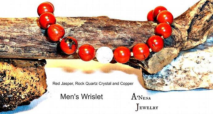 "Men's Wristlet:  Red Jasper, Rock Quartz Crystal and Gold plated Copper ""The"